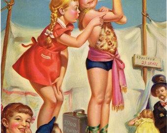 Original vintage calendar print 1950s Lithography Illustration Children Circus