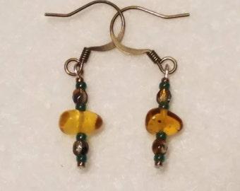 Amber and Green earrings