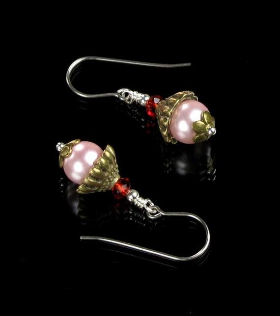 Pink Pearl Drop Earrings, Feminine Jewelry, Pink Earrings, Brass & Silver Earrings, Valentine's Gift for Women, Handmade Gift for Valentine