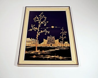 Picture with Asian motif, framed, bamboo on textile, 50s, mid century vintage Deco, retro living room art, yellow on black,