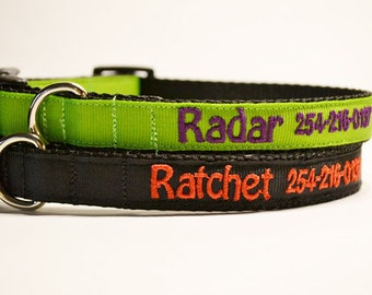 """Personalized Dog Collar - Pick a Color - Adjustable Dog Collars - 5/8""""- 3/4"""" Wide - Made to Order"""