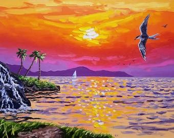 Large wall art, canvas art, tropical decor, seascape, colorful painting, oil painting, coastal wall art, original artwork, textured wall art