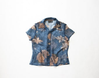 1990s Sheer Blouse / 90s Digital Print Top / Floral Button Up Shirt / Soft Grunge / Pastel Goth / Rose Print / Cropped / See Through / Small