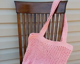 Crochet Tote Bag, Market Bag, Summer Bag, Beach Bag, Solid Bottom Bag