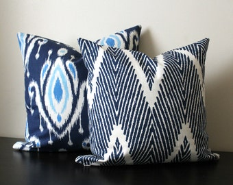Decorative Throw Pillow Set, Blue and White Ikat Chevron Pillows, Set of Two 16x16,18x18, Accent Pillow, Pillow Shams, Toss Pillows