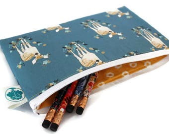 Pencil Pouch - Makeup Bag - Zipper Pouch - Cosmetic Bag - Zipper Clutch - Pencil Bag - Pencil Case - Gadget Bag in Fawn