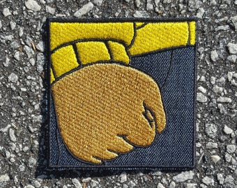 Author Meme Patch made with Jean Fabric Sew on Iron on Patch DIY