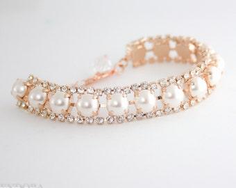 Rose gold bracelet | cream pearl bracelet | pearl wedding bracelet | pearl bridal bracelet | swarovski cream pearl | pearl bridal bracelet