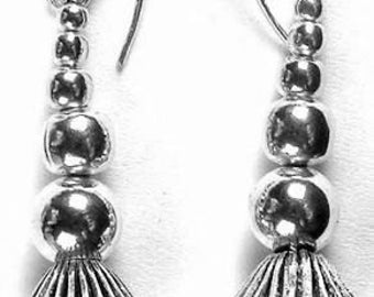 Long Sterling Silver Dangle Beaded Earrings