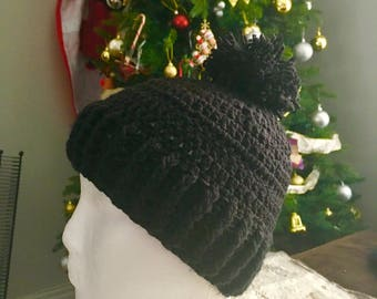 Handknit hats/ needle knitted hat/ slouchie hat/ beanie hat/ pompomhat/ garter slouchie beanie/
