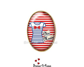 Ring * Chic sailor * cabochon red glass stripes costume jewelry