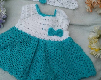 Infant Crochet White and Blue Dress With White Headband, Baby Knit Dress With Headband, Infant Knit Dress