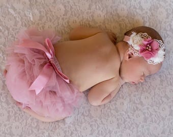 Lace chiffon headband and Baby Tutu diaper cover... bloomer and lace chiffon Floral Headband...Hair bow and Diaper Cover