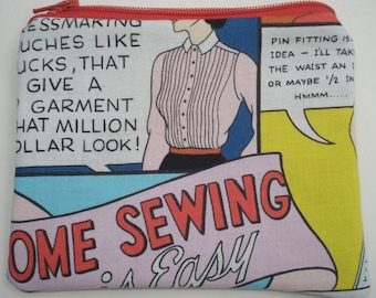 CLEARANCE Home Sewing is Easy Zipper Pouch: Retro, Vintage, Comic Book.