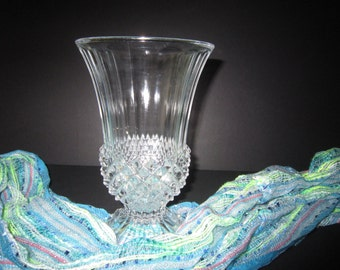 Vintage Footed Crystal Vase, American Brilliant Period Vase, Cut Crystal Footed Vase, Fluted Vase