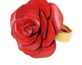 Pink flower Adjustable ring leather full grain cowhide