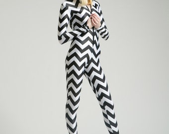 Giant Zigzag Chevron Bodysuit for Dizzying Elation