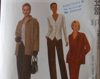 Sewing pattern McCall's Easy 9486 misses' unlined jacket, top and pants new uncut size 10 to 14