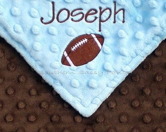 Monogram Baby Boy Blanket - Football Blanket - Personalized Minky Blanket , For Baby Boys ,  Additional Embroidery Options Available