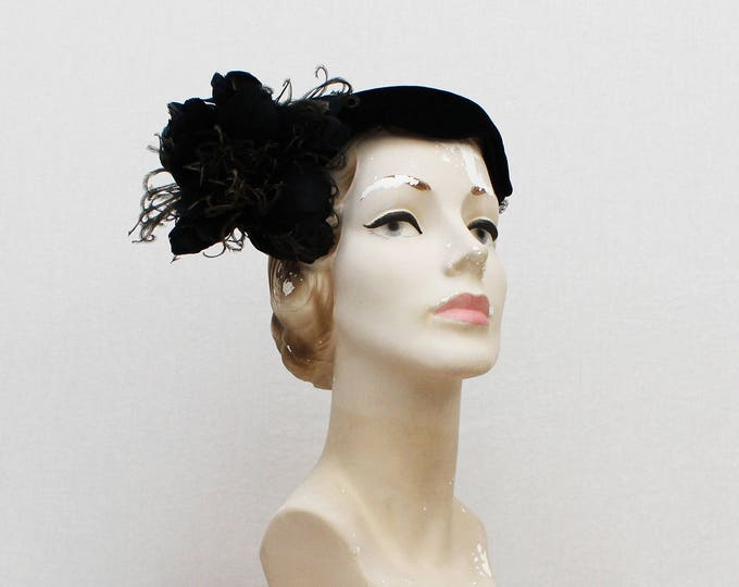 Vintage 1940s Feather Flower Cocktail Hat