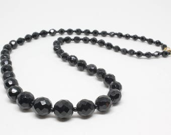 Vintage Hobe Faceted Black Glass Bead Necklace Round Graduated Size Beads