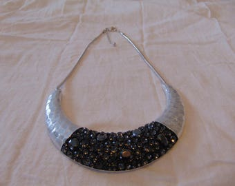 vintage FRAGMENTS mfg. silver plated marcasites  black diamond necklace snake chain sparkling