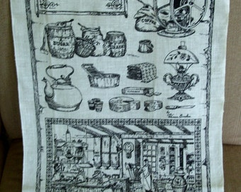 General Store Linen Tea Dish Towel NOS by Kay Dee Great Hostess or Housewarming Gift