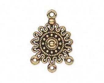 Chandelier, antiqued gold, 3 loop chandelier, 17mm, 4 each, D719