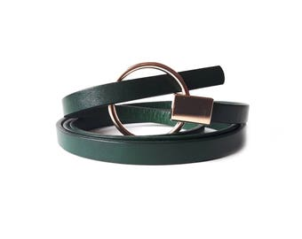 Leather Belt For Women, Green Leather Belt, Bohemian Belt, Leather Belt, Multistand Leather Belt, Stylish Letaher Belt, Lu Michael