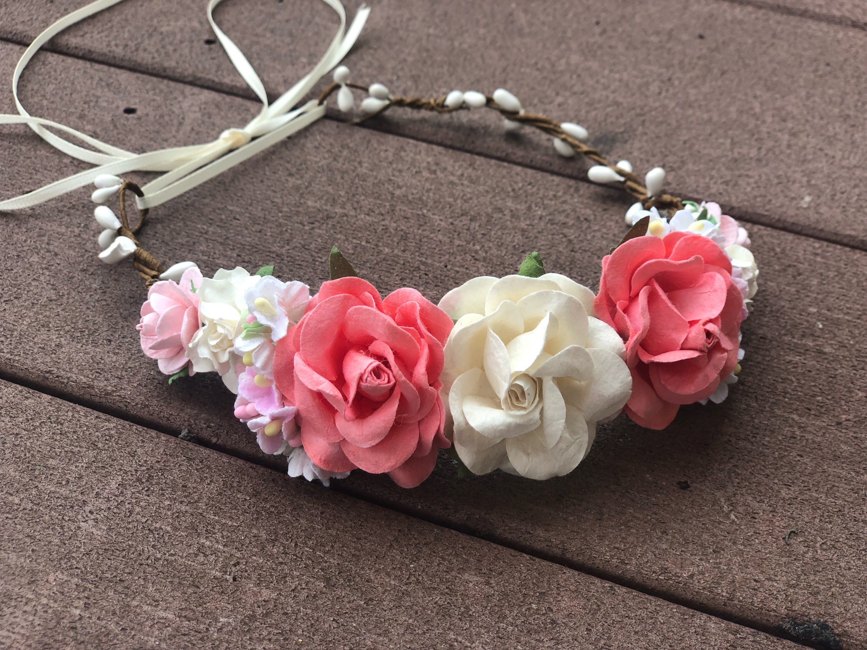 Pink And White Flower Crown Floral Halo Boho Flower Girl