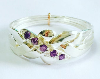 925k silver 0.10 amethyst 4 band hand made  puzzle ring