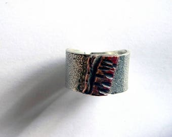 ring silver Sterling copper forged mixed ring, nature jewelry,