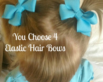 Girls Ponytail or Pigtail Bows on Elastic Holder - You Choose the Colors - Pick Four - Baby, Toddler, Girl, Children
