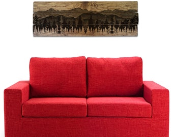 "Mountain Scenery and Forest Wall Art on Solid Wood Boards - 48"" x 17"" Nature Decor, Trees, Panorama, Mountainscape"