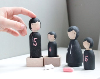 Wooden Peg Dolls // The Chalk People Peg Dolls // Wooden Toys Wood Dolls