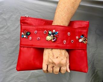 Kid's leather clutch bag