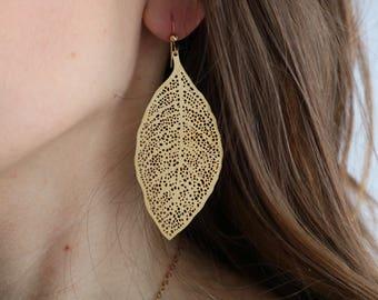Gold filigree earrings, laser cut filigrees, bohemian jewelry, silver laser cut leaf earrings, gold leaf earrings, gold laser cut earrings