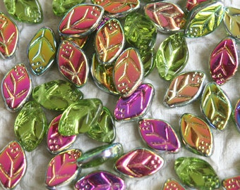 Czech Glass Leaf Beads - Jewelry Making Supply - 12x7mm Glass Leaves - Top Drilled Olivine Vitrail - Choose Amount