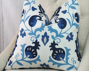 Blue Pillow Cover Blue Accent Cover Blue Throw  Cover      Lumbar Throw Decorative Pillow 18x18 20x20 22x22 24x24 26x26