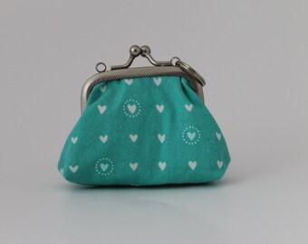 Coin purse tiny teal heart print