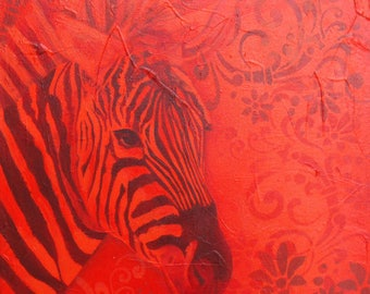 """Gift for mother's day - acrylic painting on canvas: Red Zebra (""""Scarlet"""" series)"""