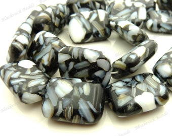 20x15mm Black and White Mother of Pearl and Resin Rectangle Beads - 20pc Strand - White Pearl Chips, Mosaic Pattern, Puffed - BQ24