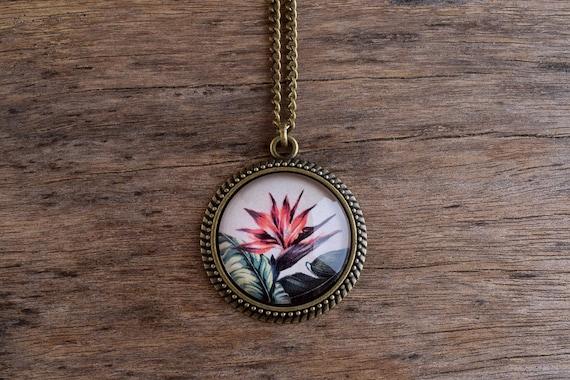 Bird of paradise pendant necklace tropical jewelry hawaiian bird of paradise pendant necklace tropical jewelry hawaiian necklace exotic flower necklace summer pendant paradise flower pendant tj 074 aloadofball Images