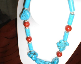 Blue Turquoise and Red Coral Necklace