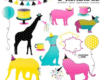 PAR-TEA Animals Digital Clipart - Personal & Commercial Use - Zoo Animals Clipart, Pet Birthday Party Graphics, Dog, Giraffe, Hippo Images