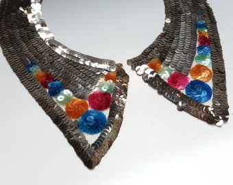 RARE antique 1920s flapper dress applique collar original art deco charleston