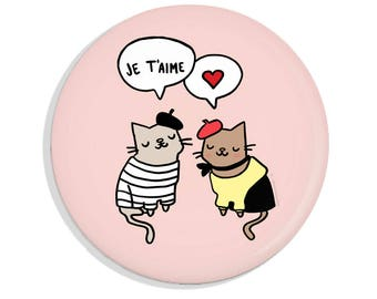 Pinback Button French Cats in Love Cute Cat Button Je T'aime I Love You Pin Magnet Pocket Mirror Cat Lover Gift Pink