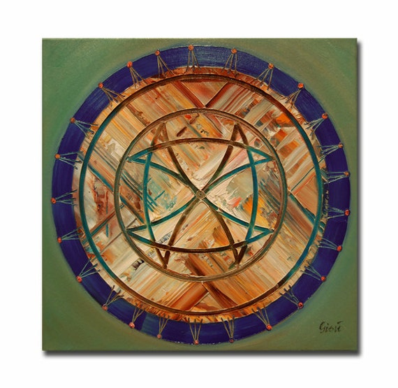 ORIGINAL mandala painting, spiritual art, meditation art, mandala art, blue orange