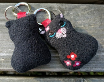 Handmade Black Cat Key Ring / Bag Tag / Charm Book Bag Tag, Black fleece with embroidered face / flowers, with stainless carabiner key ring