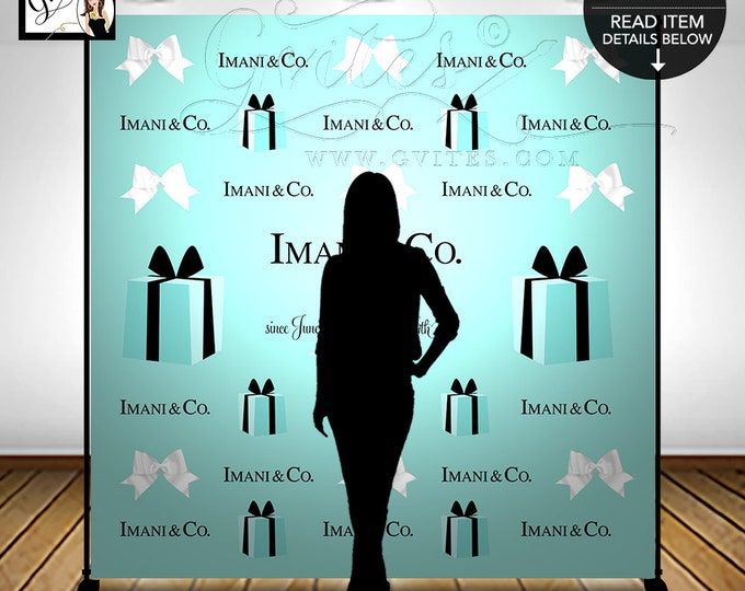 Sweet 16 Step and Repeat Backdrop Photo Booth, Breakfast at, Birthday Large Posters, Pictures, Printable, Digital, DIY, Gvites.